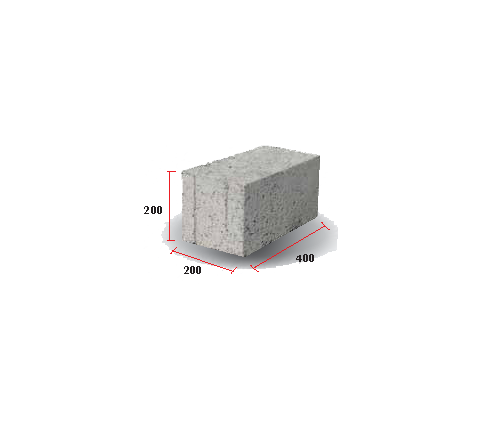 "Solid Block 8"" (200 X 200 X 400)"