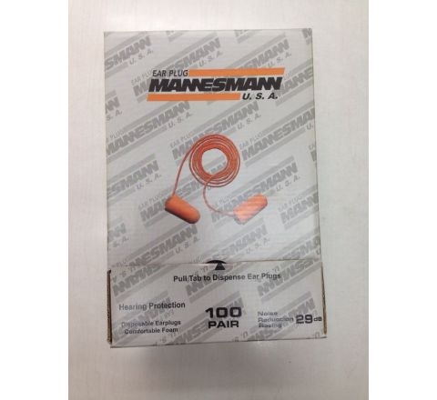 Disposable Ear Plug Corded 100 Pairs MANNESMAN